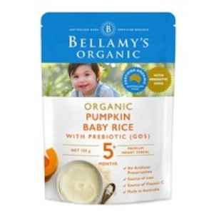 Bellamy's 贝拉米 有机婴儿高铁南瓜益生元米粉 5个月以上 125gAU$5.49含税(约26元,凑单包邮)